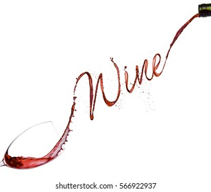 Pouring red wine from bottle to the glass  on white background