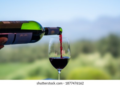 Pouring red wine into the glass against nature blurred background