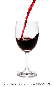 Pouring red wine into glass with splashing., Isolated white background.