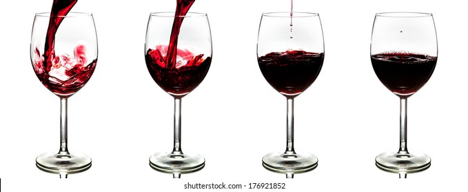 pouring red wine isolated on white background - stages