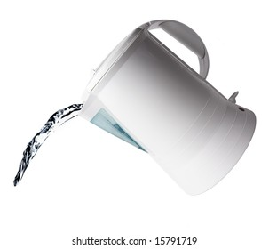 Pouring water from an electric kettle isolated on white