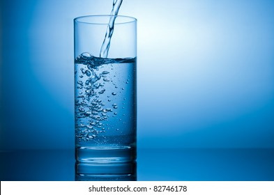 pouring water in glass with reflection