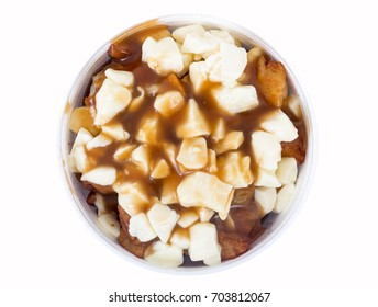 Poutine Quebec fastfood meal with french fries, cheese curd and gravy