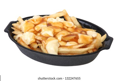 poutine : quebec meal of fries, gravy and cheese curds