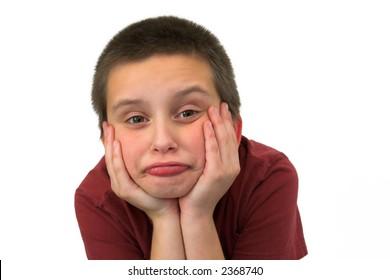 pouting boy isolated on white