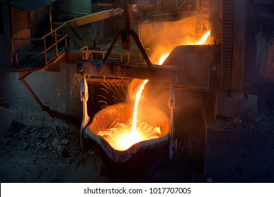 Pouting molten copper at a Copper Mill in Chile