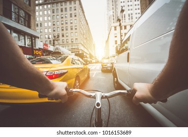 Pov bicycle view camera in New york city, traffic jam