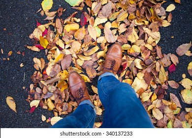 POV of man's feet wearing leather shoes walking in Autumn leaves.