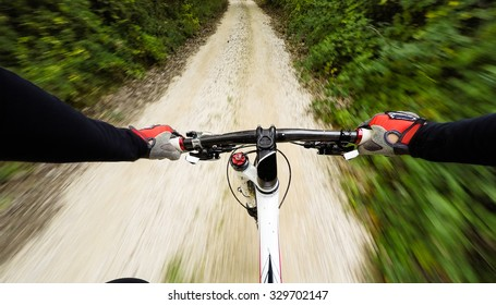 POV, Original point of view. Speed on mountain bike.