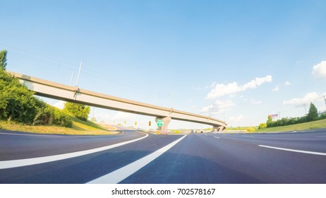 POV point of view - Driving East on Interstate Highway 70 in St. Louis.