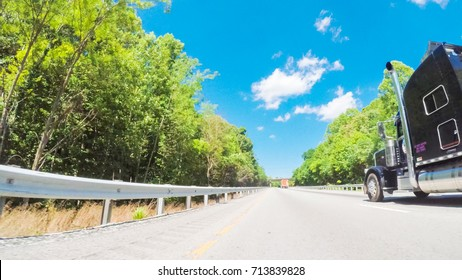 POV point of view - Driving East on Interstate Highway 40 through Appalachian Mountains.