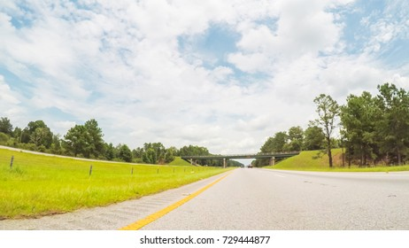 POV point of view - Driving to Myrtle Beach on cross-country road trip.