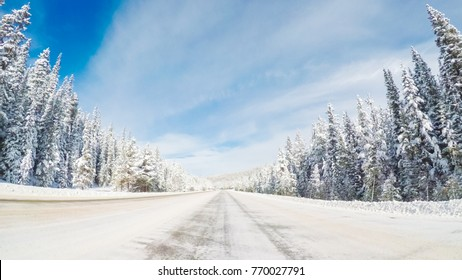 POV point of view - Driving over Berthoud Pass after winter storm in Colorado.