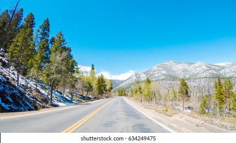 POV point of view -Driving through Rocky Mountain National Park in the Spring.