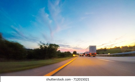 POV point of view - Driving West on Interstate highway 70 through Kansas.