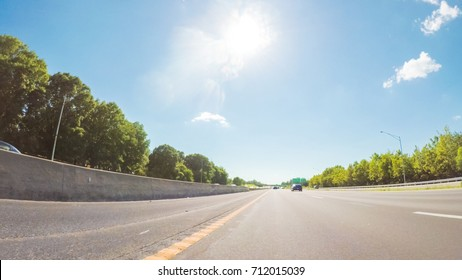 POV point of view - Driving West on Interstate highway 70 through Missouri.