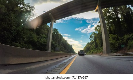 POV point of view - Driving West on Interstate Highway 40 through Appalachian Mountains.