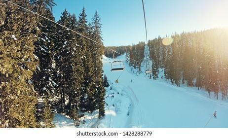 POV point of view. Open air ski lifts in Bansko, Bulgaria