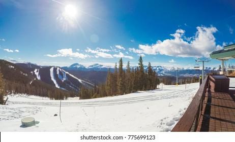 POV point of view. Skiing Colorado Rokies in early ski season.
