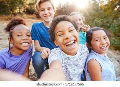 POV Shot Of Multi-Cultural Children Posing For Selfie With Friends In Countryside Together