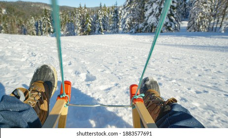 POV: Sledding down a snowy meadow in the sunny mountains of Kranjska Gora. First person shot of sleighing down the slopes of ski resort during covid19 outbreak. Exciting bumpy sled ride on perfect day - Shutterstock ID 1883577691