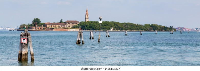 Poveglia, a small island between Lido and Venice in the Venetian lagoon in Nothern Italy. View from Malamocco town