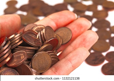Poverty, beggar concept abstract background. Euro, set coins closeup with selective focus. Save money for retirement planning. Payment cache signs. Dreams of rich life