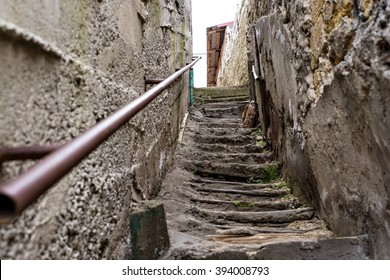 Poverty and dirty staircase in the slums