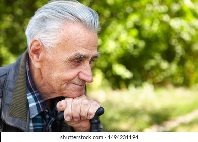 Poverty and old age. Elderly poor man thinks about life