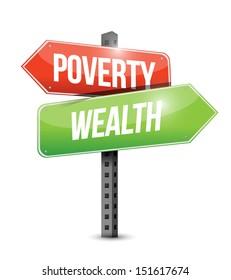 poverty wealth road sign illustration design over white