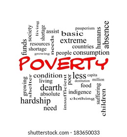 Poverty Word Cloud Concept in red caps with great terms such as poor, condition, people and more.