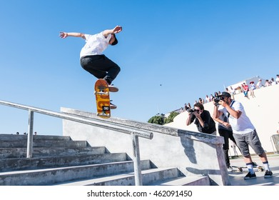 POVOA DE VARZIM, PORTUGAL - JULY 24, 2016: Jorge Simoes during  the 2nd Stage of DC Skate Challenge by Moche.