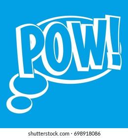 Pow, speech bubble icon white isolated on blue background  illustration