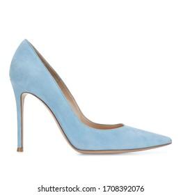 Powder blue Suede Heels Shoes