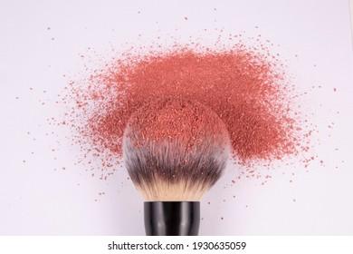 powder brush with blush powder