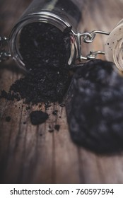 Powder of charcoal in jar