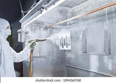 Powder coating of metal parts. Worker wearing protective wear performing powder coating of metal details in a special industrial camera. Hand holding powder coating sprayer