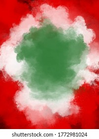 Powder explosion in the colors of the Italian National flag, Italy colors