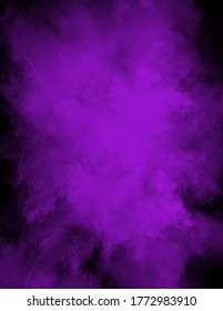 Powder explosion or splatter in vibrant color on a black background