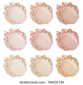 Powder face smears. Smears of foundation for face. Cosmetic smear. Isolated on white background