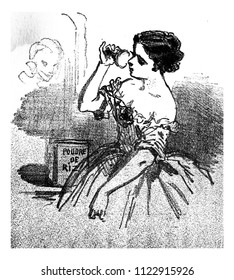 The powder passes from the hair to the figure, vintage engraved illustration. From The Tortures of Fashion.
