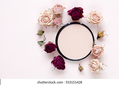 Powder with roses, makeup background