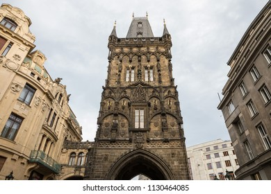 Powder tower a gothic city gate from medieval times in Prague