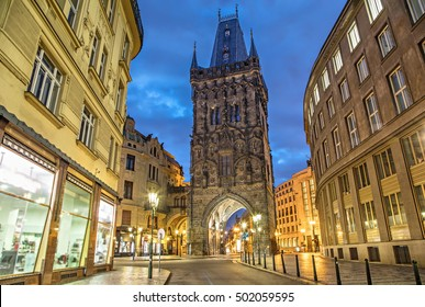 The Powder Tower - medieval gothic city gate in Prague, Czech Republic