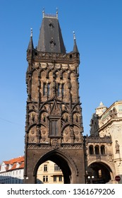 Powder Tower in Prague, Czechia, Late Gothic architecture, formerly town gate used as a gunpowder store.