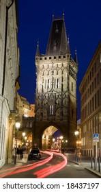 Powder tower in Prague in night lighting.