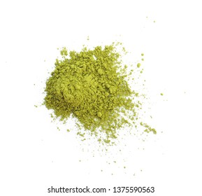 Powdered matcha green tea isolated on white background