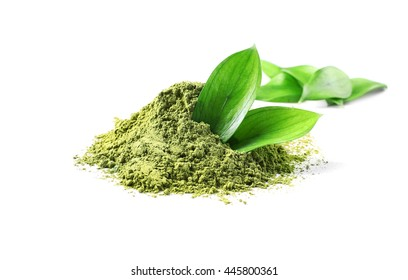 Powdered matcha green tea, isolated on white