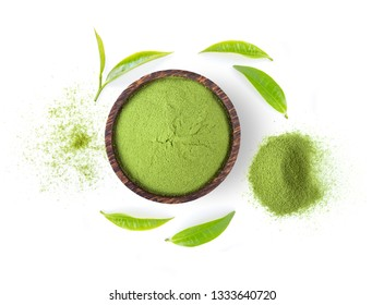 powdered matcha green tea and leaf in bowl isolated on white background. top view