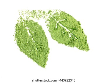 Powdered matcha green tea in leaves shape, isolated on white